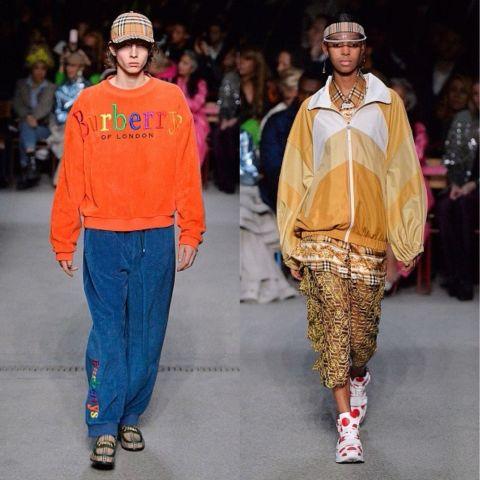這場名為「時光」的服裝秀,展示出的不只是Burberry的歷史,也是設計師Christopher Bailey的青春。Bailey將他所懷念的80、90年代活力置入其中,亮橘色的天鵝絨毛衣、厚實的剪羊毛帽T、花俏的飛行夾克,處處盛開著懷舊的街頭氛圍,搭配Jimmy Somerville演唱的「Smalltown Boy」,紀念過去那個新鮮浪漫的叛逆年代。